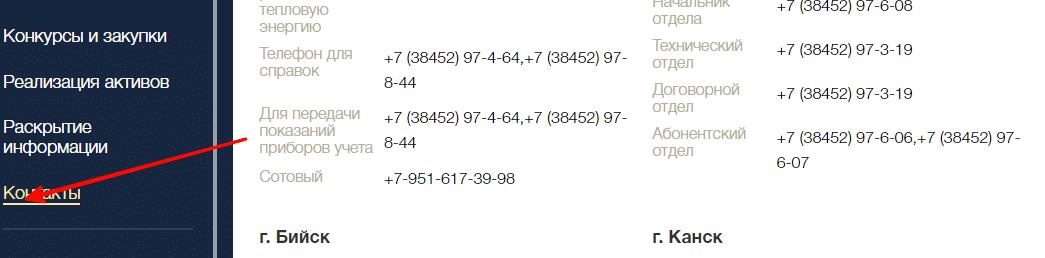 Контакты разных городов